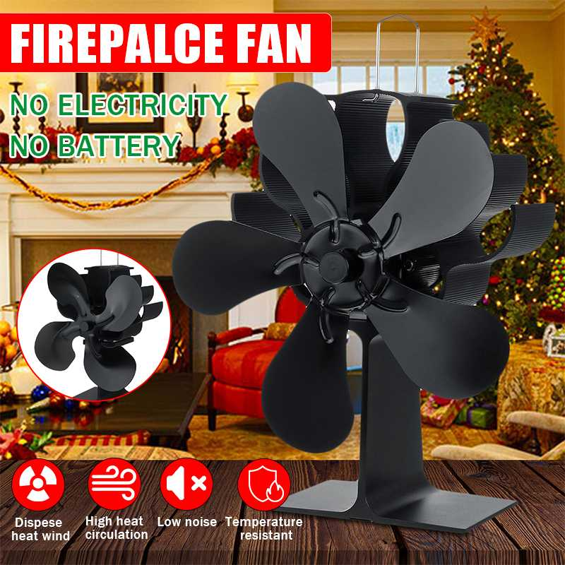 Black Stove Fan 4/5 Blade Fireplace Fan Heat Powered 150CFM Wood Burner Eco Fan Friendly Quiet Home Efficient Heat Distribution