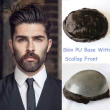 Hair-Prosthesis Human-Hair Men Toupee Skin Pu-Base Male Wig Front with Scallop Full-Pu