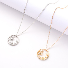 Ladies Charm Necklace Metal Round Pendant Gift Geometric Party Jewelry Holiday Exquisite