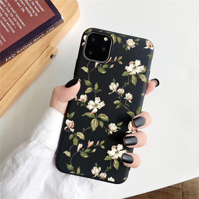 USLION Art Flower Painting Phone Case For iPhone 11 X XR XS Max Soft TPU Back Case For iPhone 6S 7 8 7Plus 5S Daisy Floral Cover Mobiles Accesories Smart Phones & Tablets Smartphones