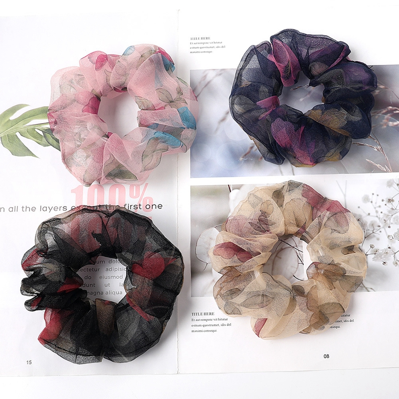 1PC Mesh Vsco Girl Scrunchie Elastic Hair Bands Organza Flowers New Women Girls Hair Accessories Ponytail Holder Hair Ties Rope