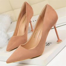Stiletto suede shallow mouth pointed womens shoes zapatos de mujer Fashion sexy pedicure was thin high heesl women's shoes(China)