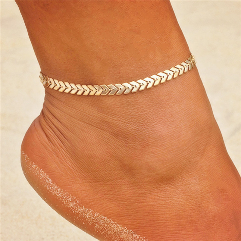 VAGZEB New Fashion Summer Boho Gold Silver Color Anklets Fashion Ankle Foot Jewelry Leg Chain On Foot For Women Gifts