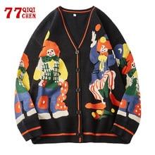 Christmas Knitted Sweater Men Cardigan Oversized Streetwear Knit Jumper Funny Clown Print Cotton Men's Harajuku Knit Coats 2021