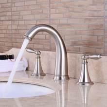 Vidric 3 trous répandu salle de bain évier robinet pont monté double poignée eau chaude froide mélangeur brosse Nickel Chrome fini EL8