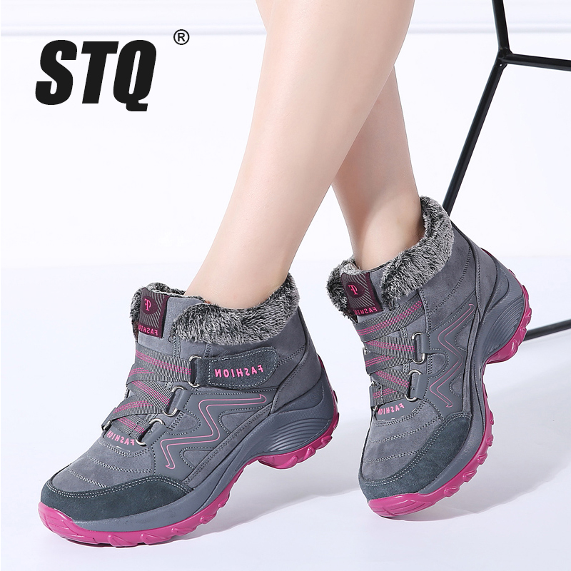 STQ Boots Shoes Rubber High-Wedge Hiking Female Winter Women Warm Push Ankle 6139