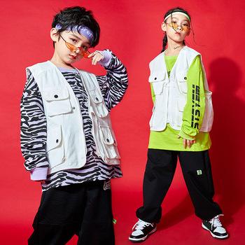 Dla 6 8 10 12 14 lat odzież Hip hopowa zestaw Zebra bluza spodnie do biegania dla dziewczynek chłopcy stroje Jazz kostium taneczny Pop ubrania tanie i dobre opinie CINESSD Streetwear CN (pochodzenie) O-neck Zestawy Swetry COTTON Poliester Unisex Pełna Rękaw raglan Pasuje prawda na wymiar weź swój normalny rozmiar