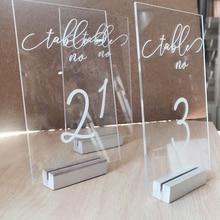 Номера свадебных столов с держателями персонализированные каллиграфия акриловый стол номер Свадебные вывески прозрачный деревянный стол номер стенд