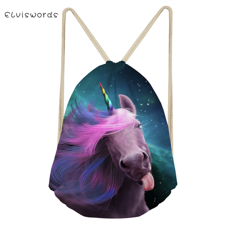 ELVISWORDS Women's Travel Drawstring Backpack Fantasy Cute Horse Pattern Beach Shoes Pockets Fashion Girls Mini Organize Bags