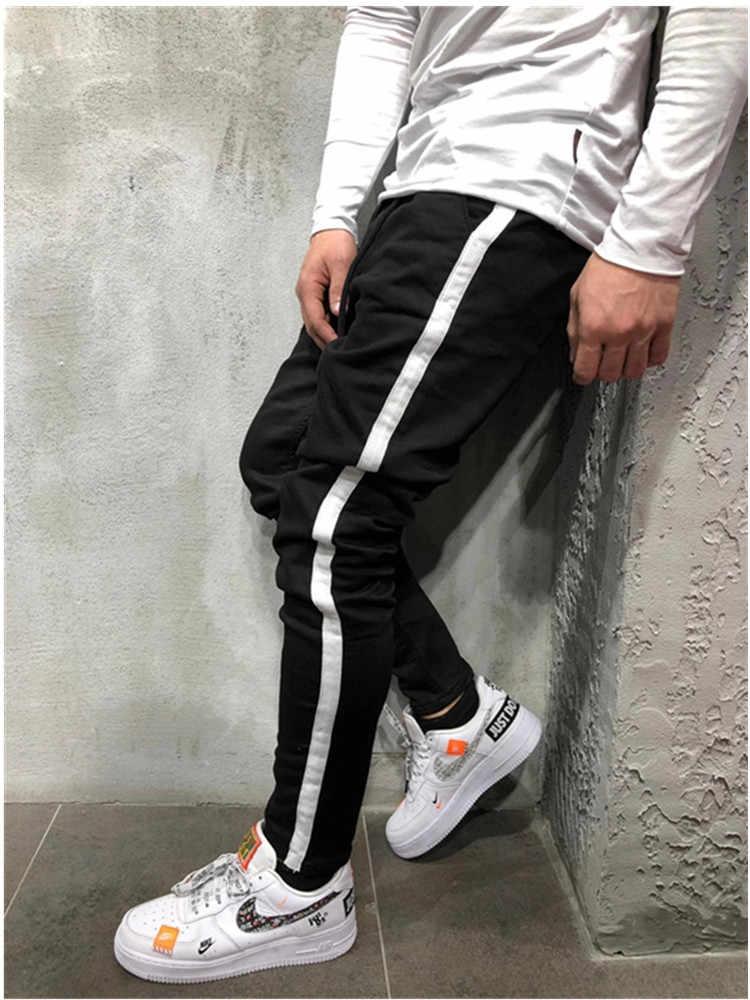 Мужские облегающие джинсы с боковой полосой, высококачественные мужские повседневные джинсы, обтягивающие Стрейчевые брюки, узкие брюки, хип-хоп штаны для бега