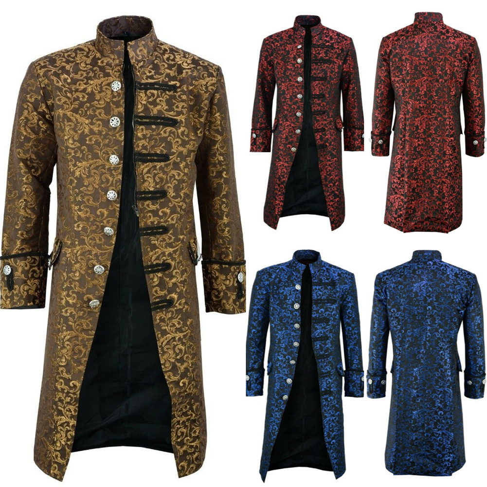 H016bc54804ee45d99cecfc748359ac9ah New Men's Vintage Tailcoat Jacket Gothic Steampunk Long Sleeve Jacket Victorian Dress Jacket Halloween Casual Button Clothing