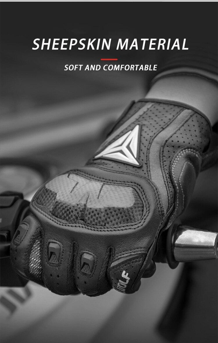 Image 4 - Полный палец овчины мотоциклетные перчатки водонепроницаемый  дышащий Скутер Чоппер перчатки для верховой езды анти осенние кожаные  перчатки для мотокроссаПерчатки   -