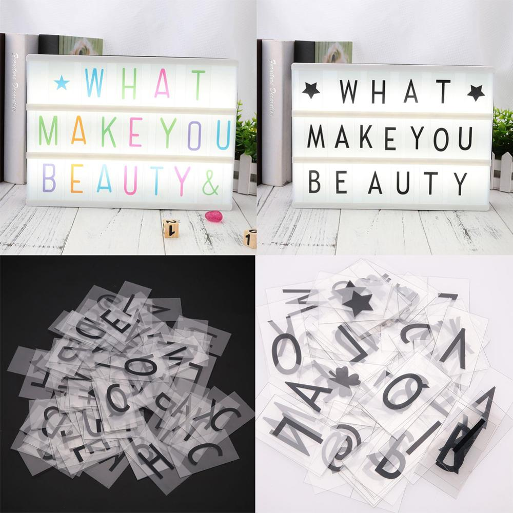 85PCS DIY Cinema Colorful Letters Cards Signs Numbers A4 Light Box Night Lamp Ornament Gift Decoration Bar Home Braft Accessory