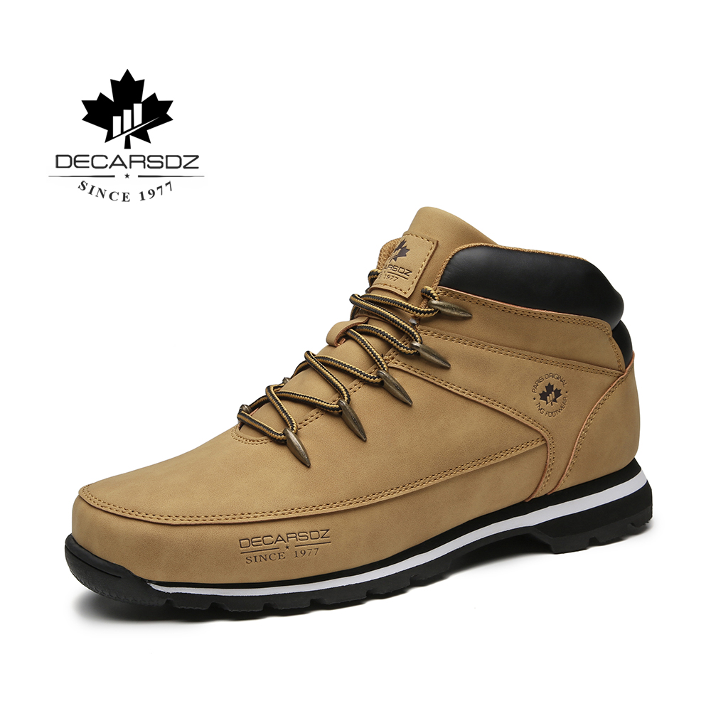 DECARSDZ Mens Boots Men 2021 Spring Autumn Casual Boots Shoes Men New Comfy Outdoor Fashion Shoes Man Leather Classic Men Boots