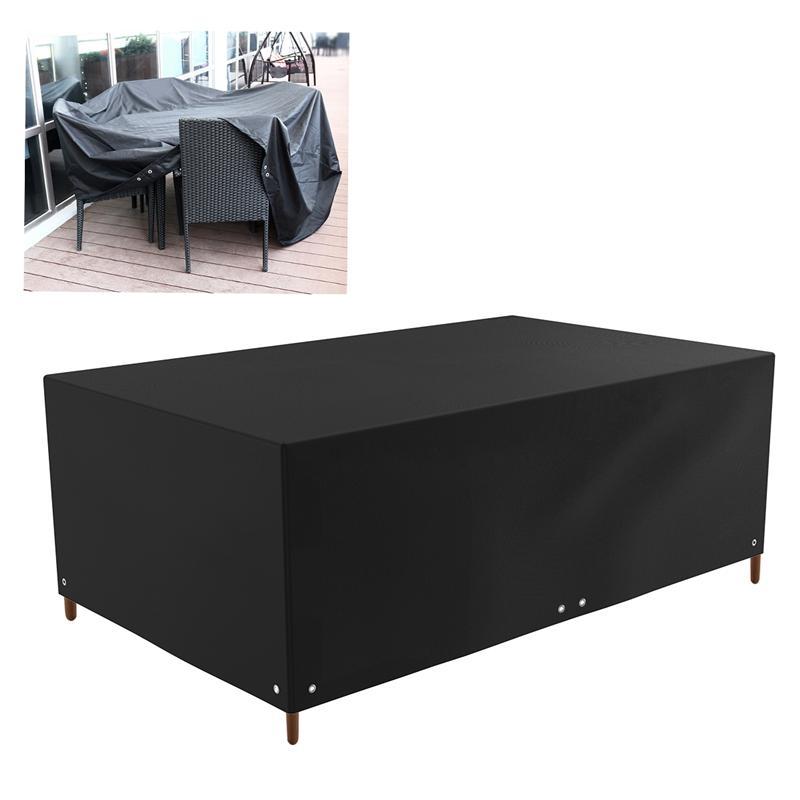 Imperméable à l'eau anti-poussière grand Rectangle Table canapé chaise couverture Patio salon meubles d'extérieur couverture anti-poussière 213x132x74cm (noir)
