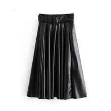 Women Leather Midi Skirt Faldas Mujer Moda  Chic Solid Bow Tie Belt Side Zipper A Line Basic Casual Tide Skirts