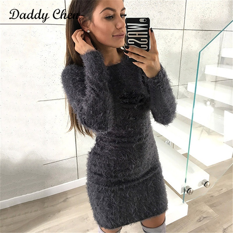 2017 Fashion Winter Plush Sweater Dress Women Casual Sexy Mini Bandage Dress Female Party Night Bodycon Christmas Black Clothing