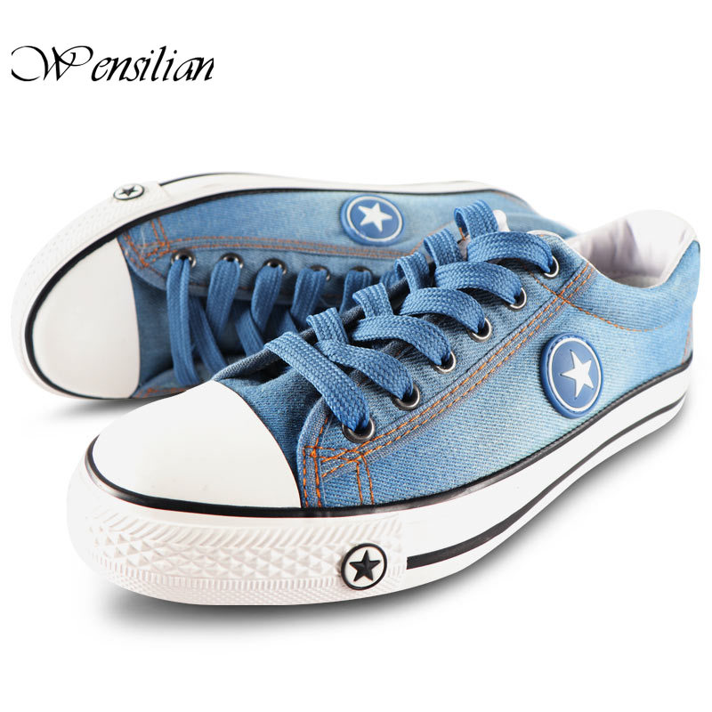 Fashion Denim Sneakers Men's Casual Shoes Breathable Sneaker Canvas Shoes For Men Lace Up Trainers Male Flats Zapatillas Hombre