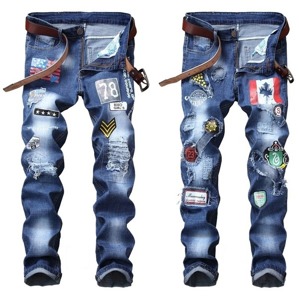 2021 Men's High Quality New Style Jeans,Slim&Straight Stretch Denim Jeans,Embroidery Patch Badge&Torn Hole Decors Denim Pants;