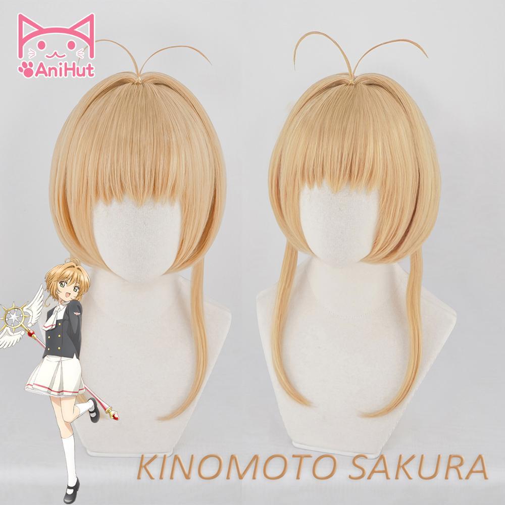 AniHut Kinomoto Sakura Card Captor Cosplay Wig Women Brown 30cm Synthetic Hair Anime Card Captor Sakura Cosplay Wig CardCaptor