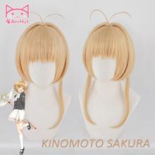 【Anihut】 kinomoto Sakura CardCaptor 코스프레 가발 여성 갈색 30cm 합성 머리 애니메이션 카드 Captor 사쿠라 코스프레 가발 CardCaptor