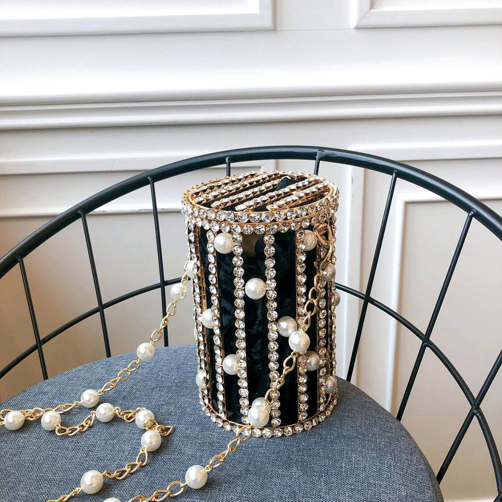 Cylindrical Pearl Rhinestone Evening Clutch Bags Women Beaded Alloy Metal Cage Dinner Purse Ladies Chain Bucket Shoulder Bag New