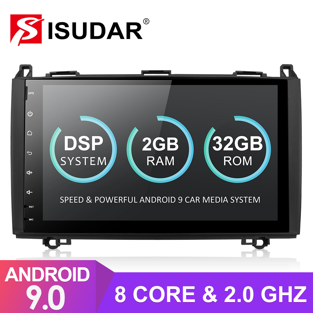 Isudar Android 9 Car Multimedia Player For <font><b>Mercedes</b></font>/Benz/Sprinter/Viano/Vito/B-class/B200/<font><b>B180</b></font> <font><b>GPS</b></font> 1 Din Automotivo Radio 8 Core image