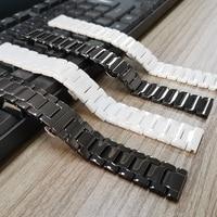 20mm 22mm Keramik Strap für Samsung Galaxy Uhr 3 Band 41mm/45mm/Aktive 2 1 40mm/44mm/42mm/46mm Armband Schwarz/Weißen Gürtel
