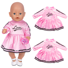 Fit 18 inch 43cm  Doll Clothes Born Baby Love Yellow Blue Rabbit Rainbow Dress Ice cream accessories For Gift