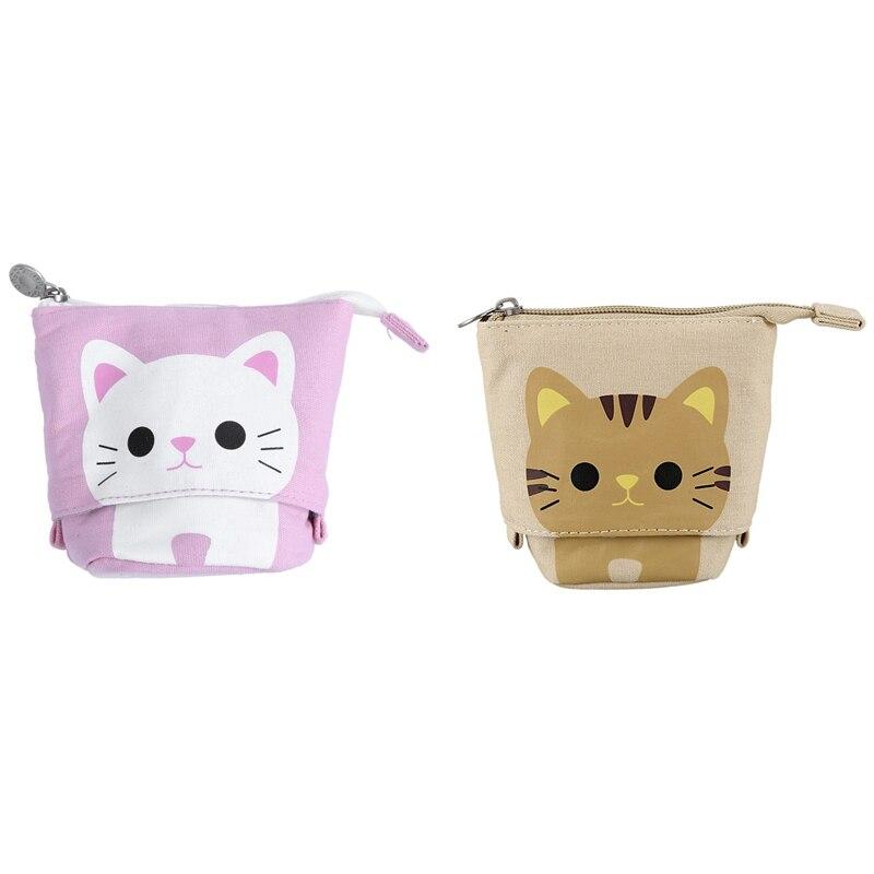 2Pcs Canvas Cartoon Cute Cat Telescopic Pencil Pouch Bag Stationery Pen Case Box With Zipper Closure -Pink With Khaki