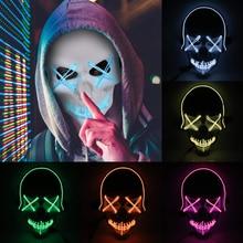 New Illuminate Mask Halloween Scary Full Face LED Flash Light EL-Wire Horror Skull Party Luminous Props