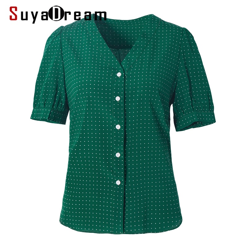 SuyaDream Women Dots Printed Silk Blouse 100%Real Silk Short Sleeved V Neck Blouses 2020 Summer Shirt