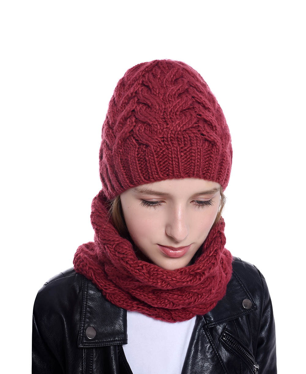 2019 Wool Knitted Thick Winter Women MS Skullies Beanies Ring Set Cap Hat Scarf Neck Ear Warm Outdoor Fashion Accessories-XMC-W6