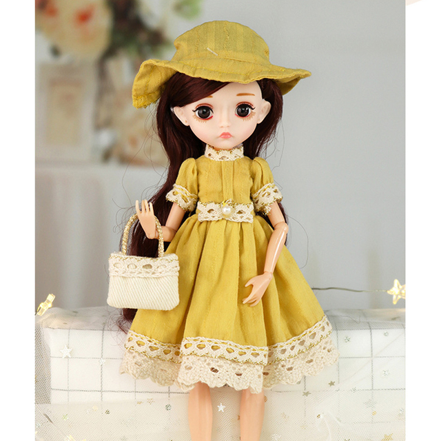 26cm 1/6 Bjd Doll With Clothes Blue 3D Eyes 11 Movable Joints Eyelashes Long Hair Wig Dress Up DIY Toy For Girls Fahsion Gift 4
