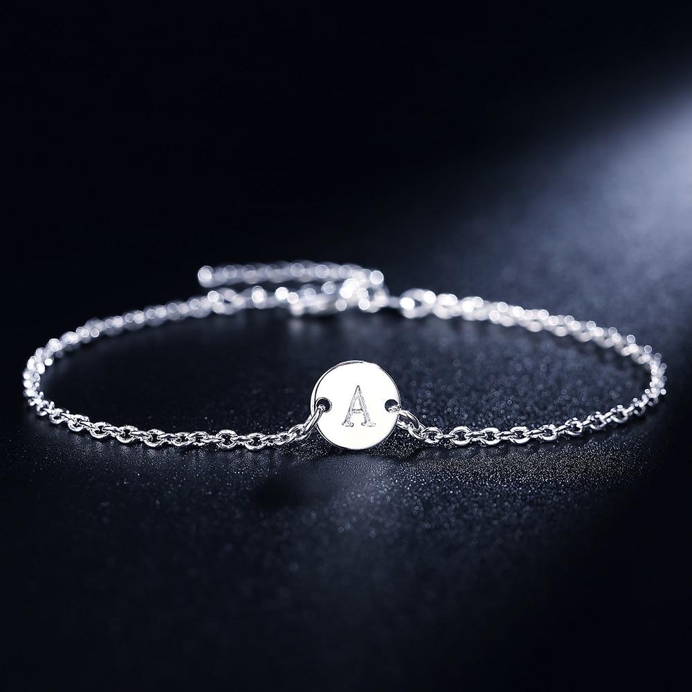 Fashion 26 Letter women men chain bracelet Hot Silver color Charm Bracelet wedding Personality Jewelry Pulseras Mujer JSHLH029