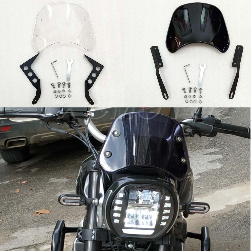 Suitable For Honda CB400 CB1100 CB1000 Motorcycle Windshield Black Transparent Windshield With Bracket And Bolt