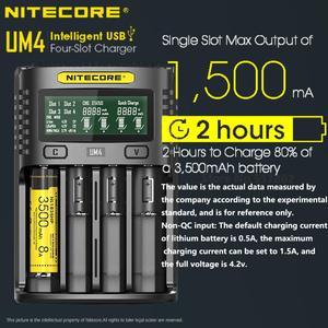 Image 5 - Nitecore um4 usb carregador de quatro entalhes qc circuitos inteligentes seguro global li ion aa 18650 14500 16340 26650 carregador