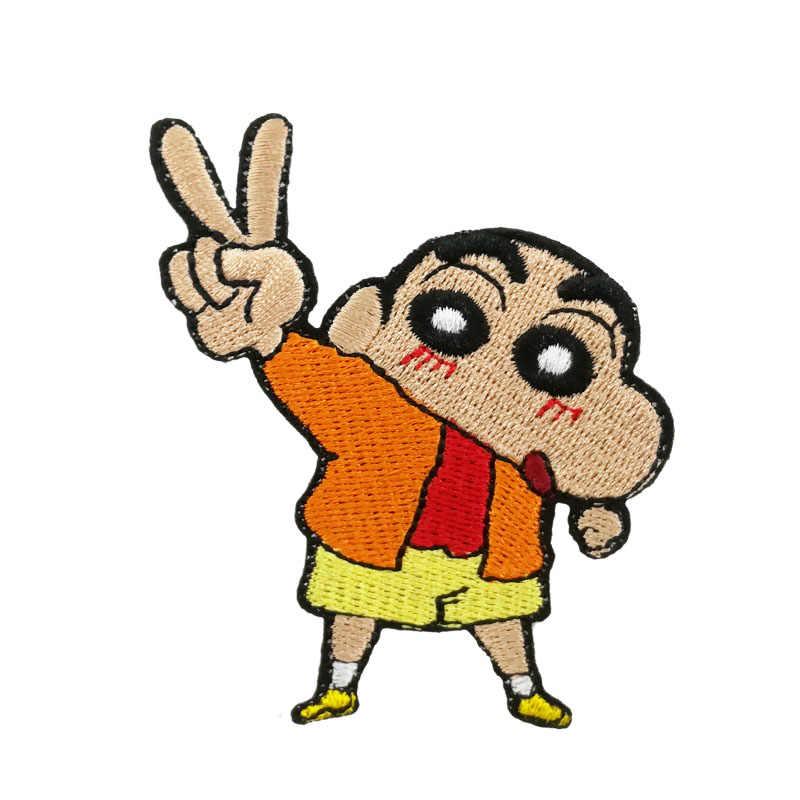 Crayon Shin-chan V-sign Виктория вышитая железная нашивка мультфильм Милая Аппликация популярная японская аниме эмблема