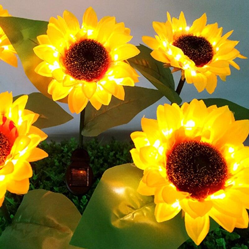 Outdoor Stake Solar Powered Sunflower Shaped IP65 Waterproof YellowLED Lighting For Garden Patio Lawn Yard Pathway Wedding