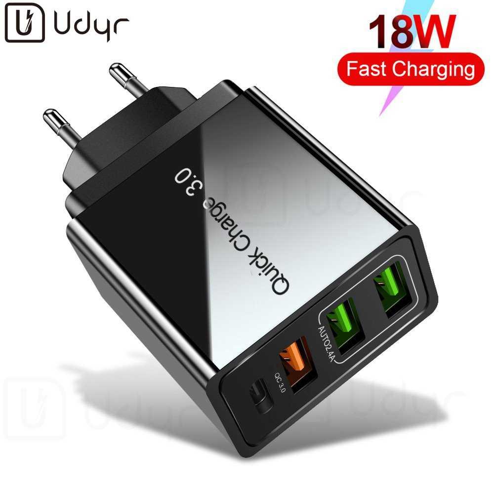 Udyr Sạc Nhanh Quick Charge 4.0 3.0 QC PD Sạc 36W QC4.0 QC3.0 Sạc Nhanh USB Type C Cho Iphone 11 X XS 8 Điện Thoại Xiaomi PD Sạc