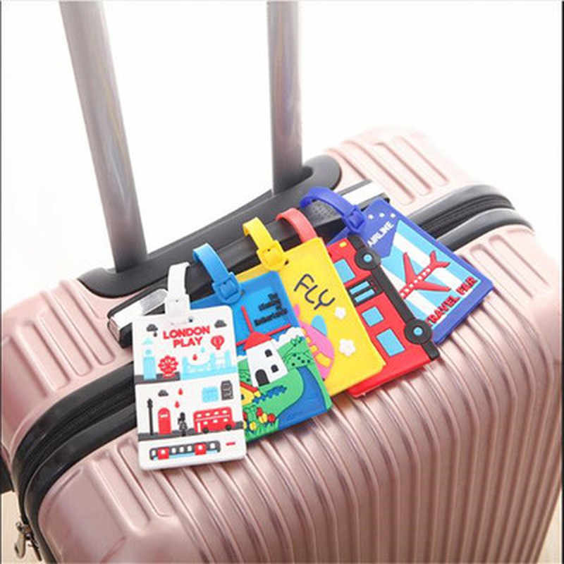 1pcs Creative Bagagelabel Dier Cartoon Silicagel Koffer ID Addres Houder Bagage Boarding Tags Draagbare Label