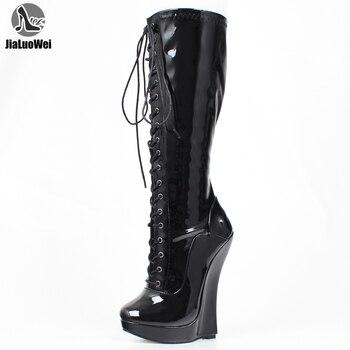 JIALUOWEI 18cm high heel wedge platform lace up knee boots