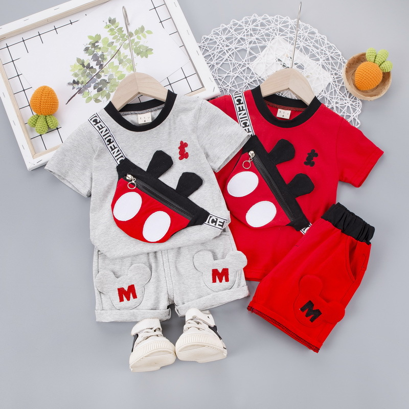 Mickey Minnie Baby Boys Clothes Summer Children Suits Cartoon Baby Boy Clothing Sets T Shirt+short Pants 2pcs Outfits Kids Set