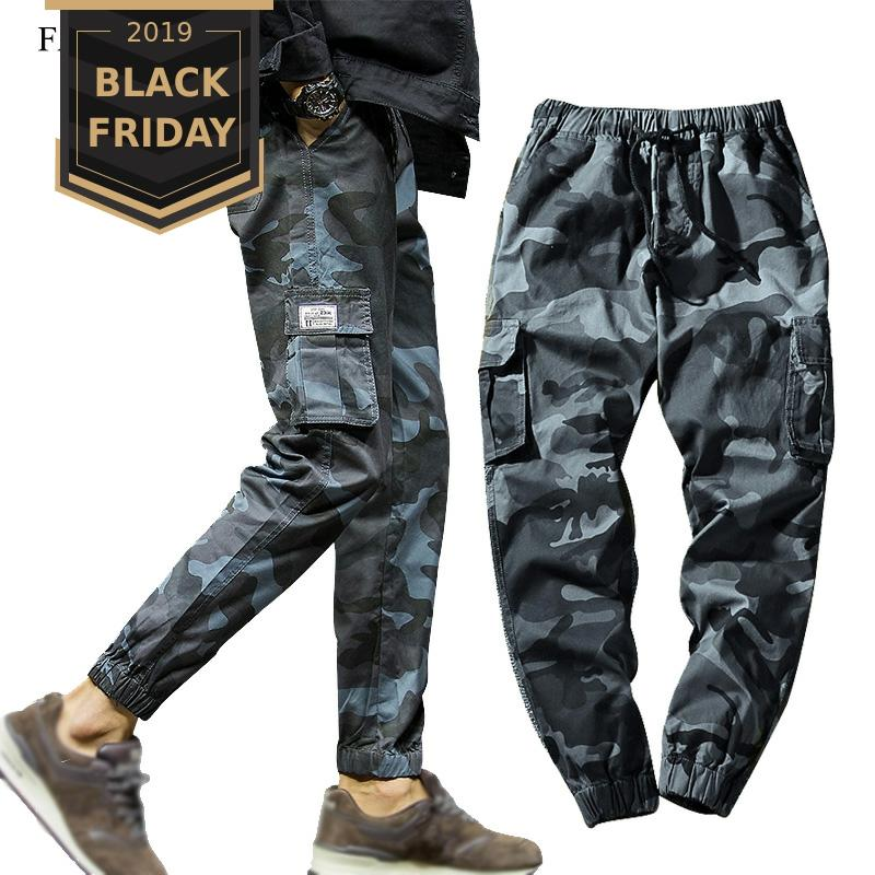 FALIZA 2019 Spring Mens Joggers Pants Camo Cargo Pants Men Jogger Harem Pants Camouflage Streetwear Pockets Trousers Men 7XL