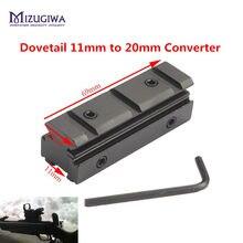 Escopo de montagem tático 11mm dovetail 20mm tecelão ferroviário conversor adaptador montagem com allen chave carabina rifle pistola vista