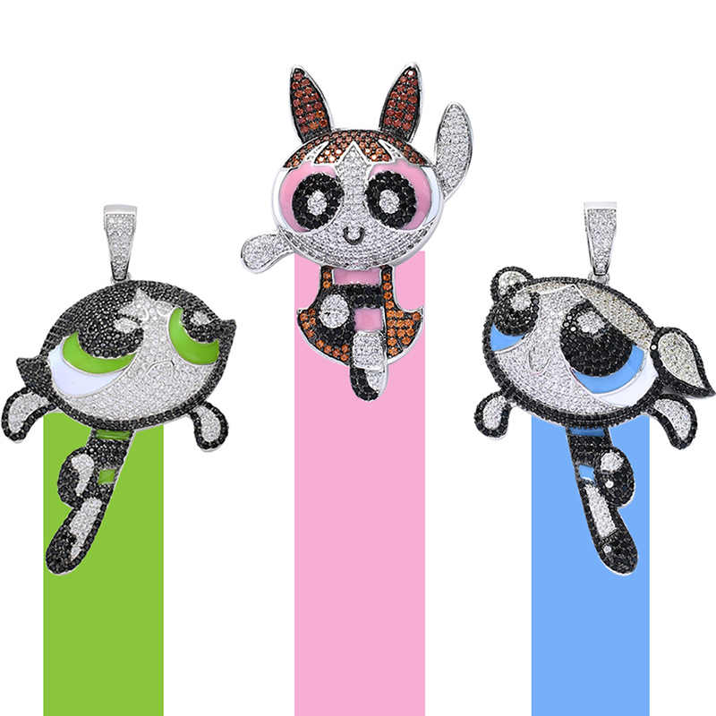 Hip Hop Micro Pave Aaa Zirconia Iced Out Bling Cartoon Karakter Hangers Ketting Voor Mannen Sieraden Drop Shipping