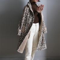 Real Mink Fur Long Coat Jacket Women Leopard Print 2019 Winter Warm 100% Natural Fur Ladies Overcoat Outerwear Female Plus Size