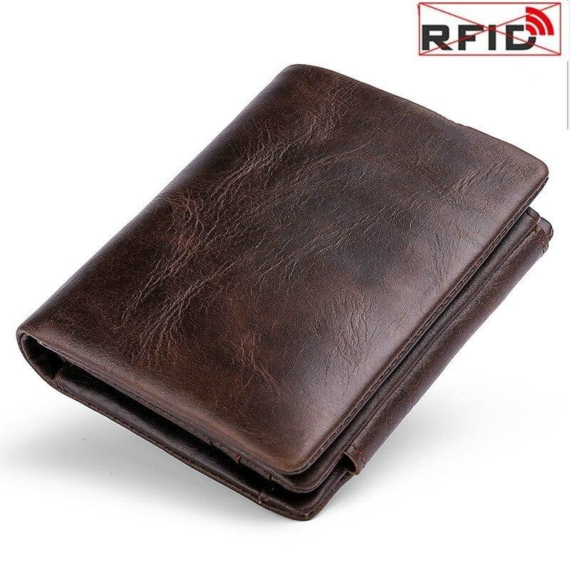 2020 nova carteira masculina rfid anti-roubo retro superior couro três dobrar fivela saco de dinheiro bolsa de moeda curto carteira masculina