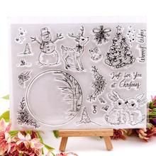 Прозрачные штампы Снеговик Рождественская елка прозрачный штамп