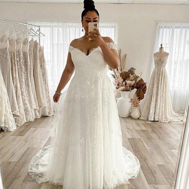 Wedding Dress Plus Size A-Line Off The Shoulder Lace Applique Tulle Backless Robe De Mariée Orienta Sweep Train Gown Custom Made 1